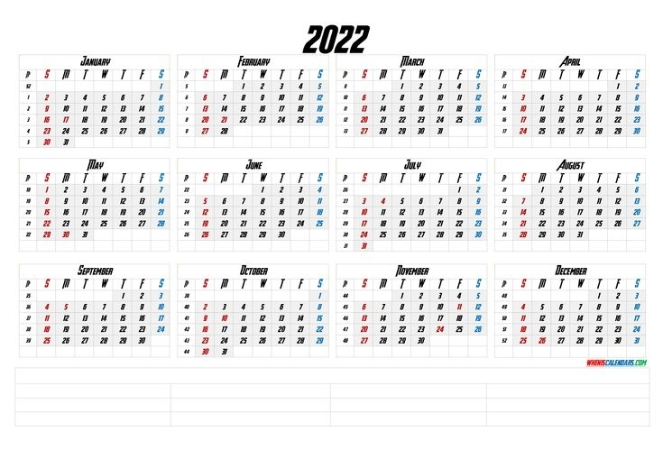 2022 12 Month Calendar Printable [Premium Templates]   12 Month Calendar Printable, Calendar
