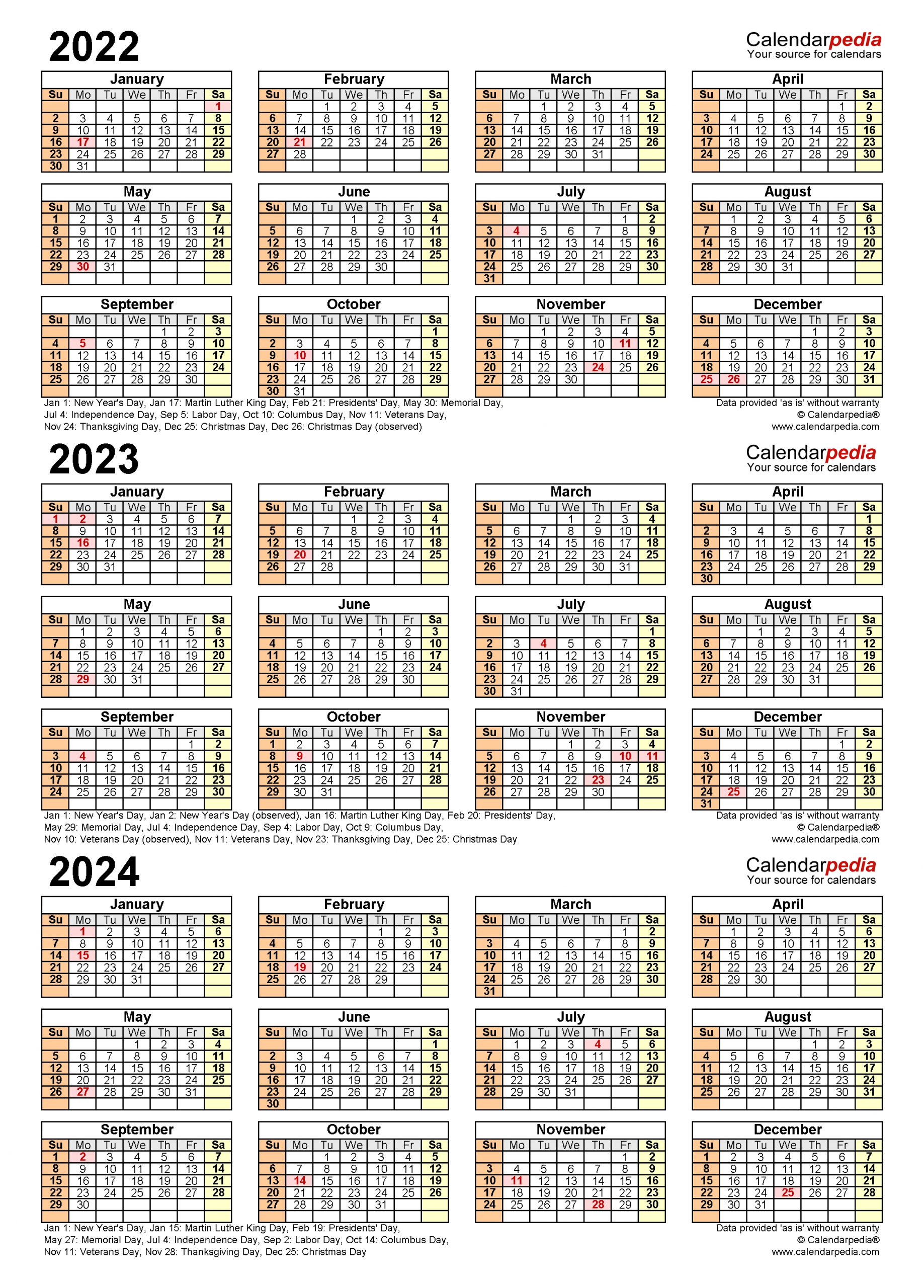 2022-2024 Three Year Calendar - Free Printable Excel Templates
