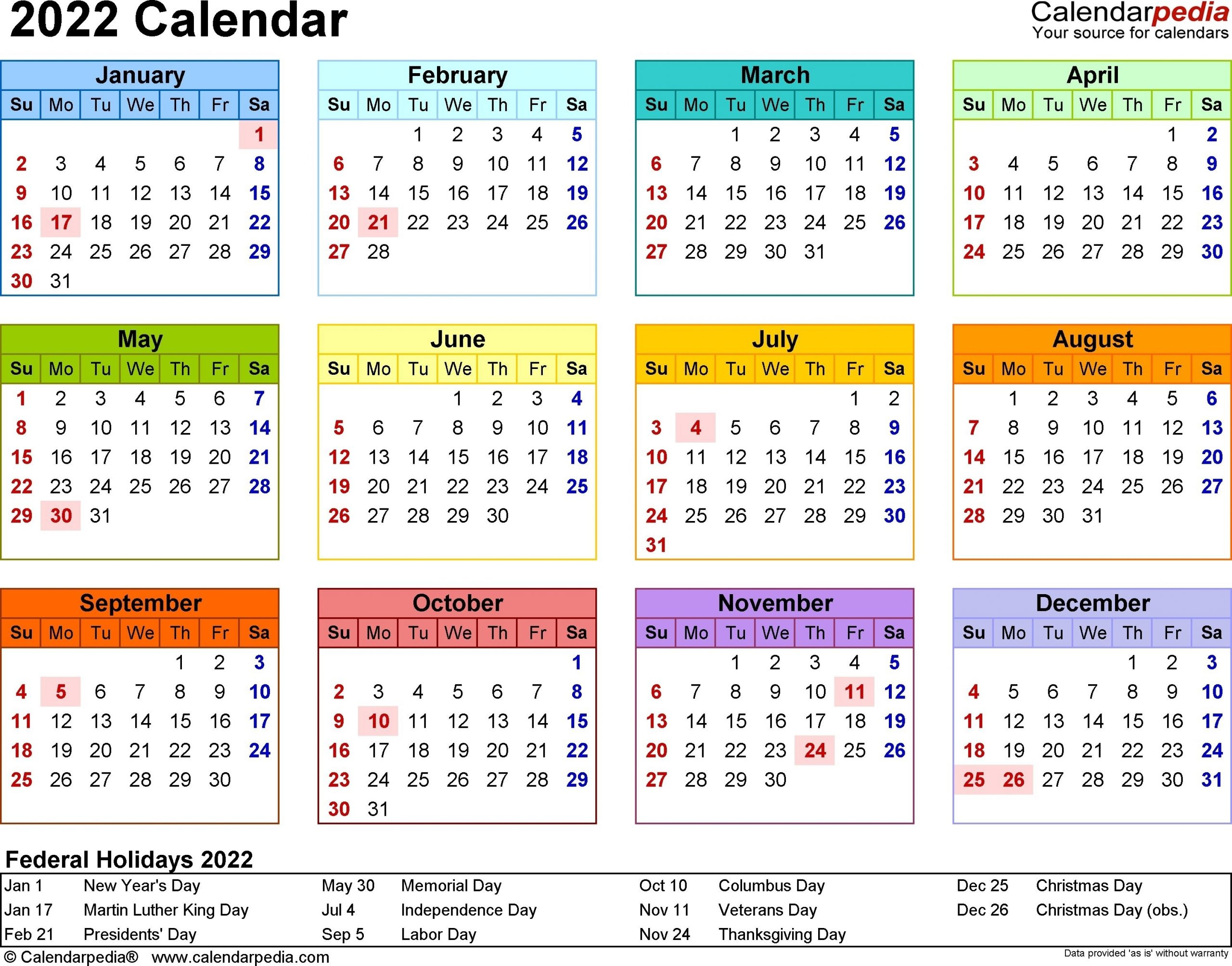 2022 Calendar - 17 Free Printable Word Calendar Templates Dowload   Excel Calendar, Calendar