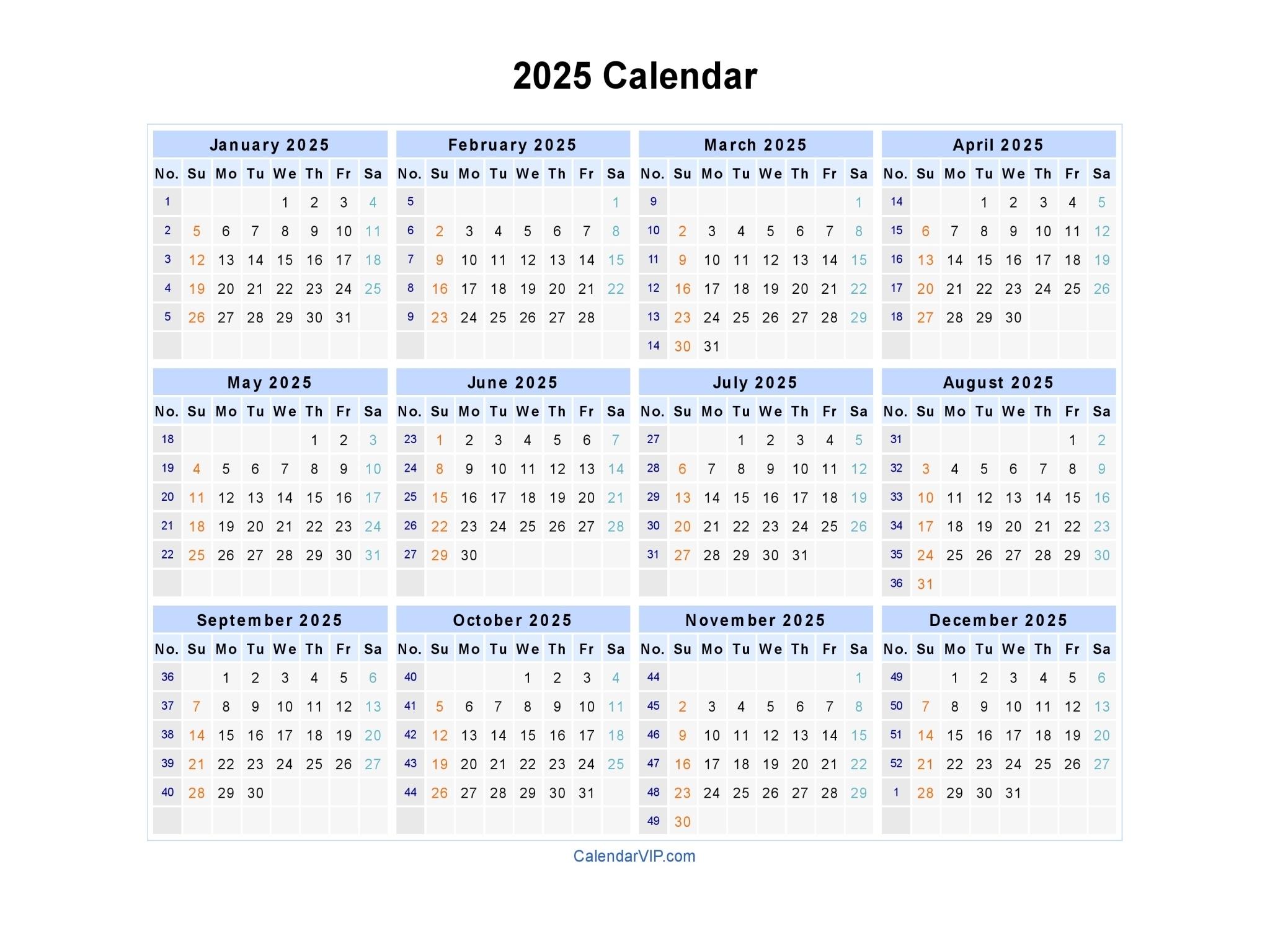 2025 Calendar - Blank Printable Calendar Template In Pdf Word Excel