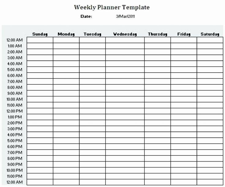 24 Hr Schedule Template Unique Printable 24 Hour Weekly Schedule Printable In 2020   Weekly