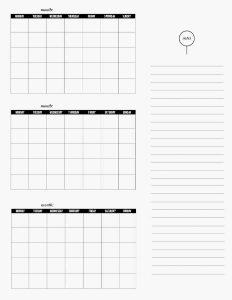 3 Month Blank Calendar Template   Printable Calendar Template 2021