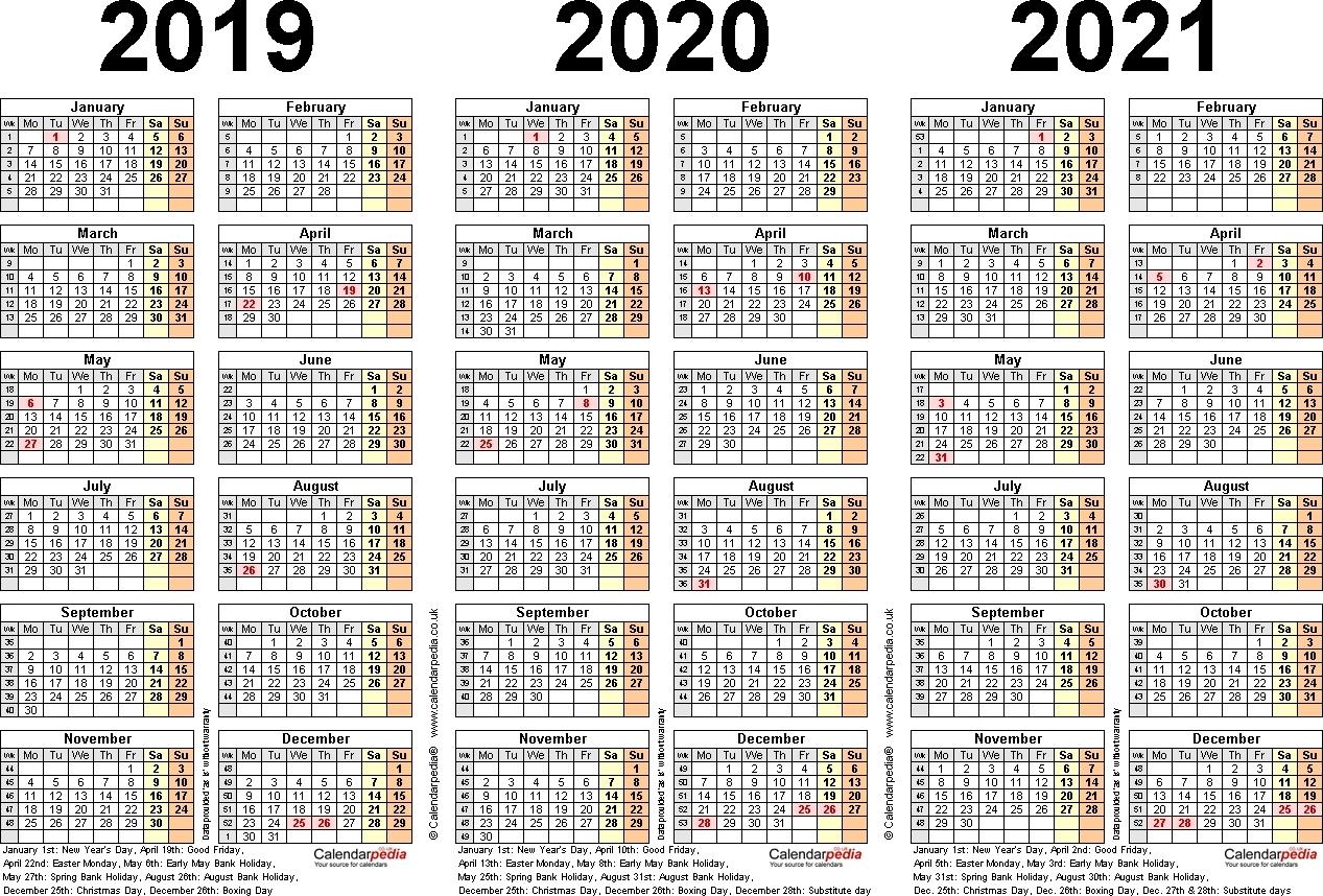 3 Year Printable Calendar 2019 2020 2021 - Calendar Inspiration Design