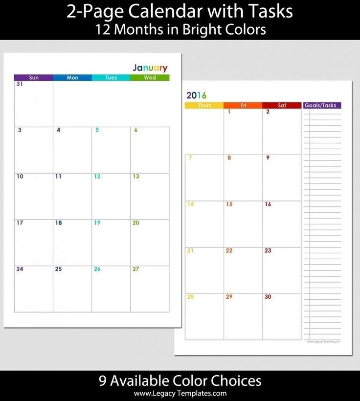 5 X 8 Monthly Calendar Template   Monthly Calendar Template, Calendar Template, Blank Monthly