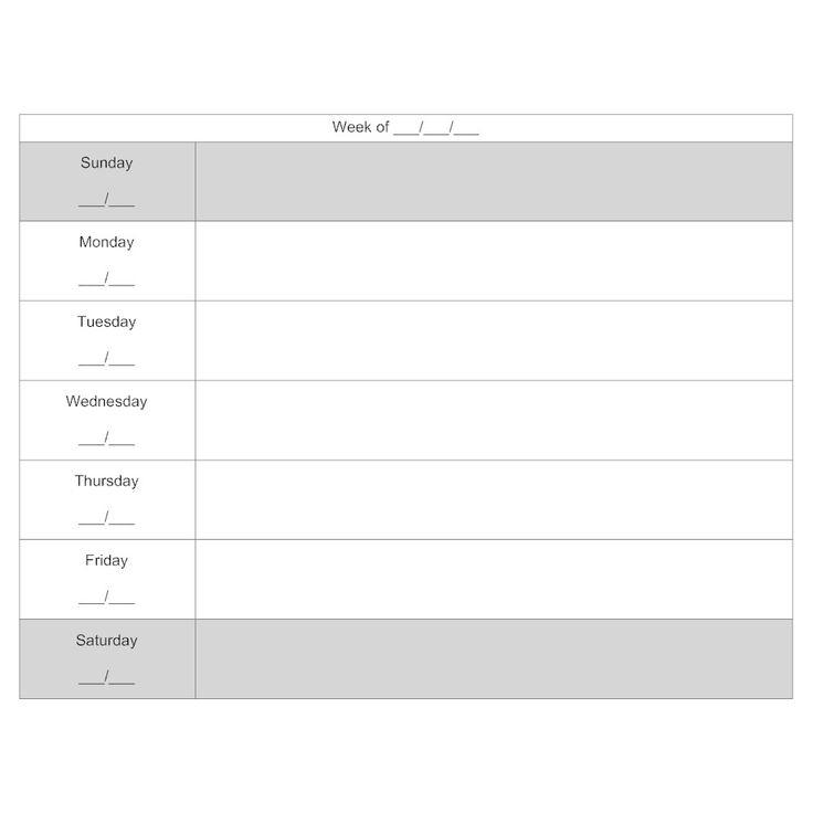 7 Day Calendar 7 Day Week Calendar Template 2018 Calendar Printable 7 Day Weekly Planner