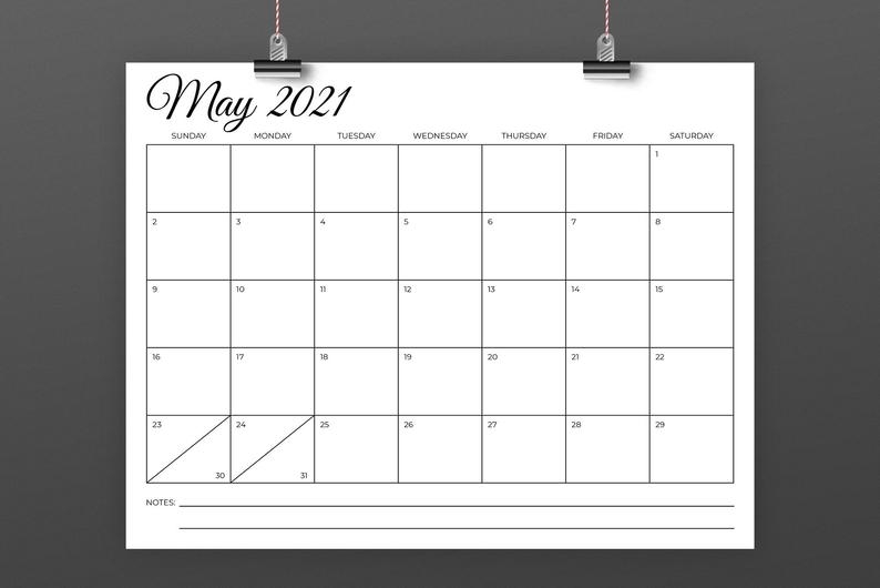 8.5 X 11 Inch 2021 Calendar Template Instant Download   Etsy