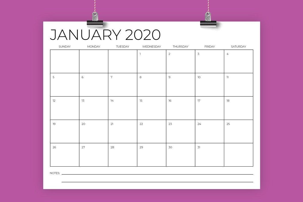 8.5 X 11 Inch Minimal 2020 Calendar   Calendar Template, 2020 Calendar Template, Calendar Printables