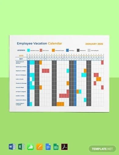 8+ Vacation Calendar Templates - Pdf, Excel   Free & Premium Templates