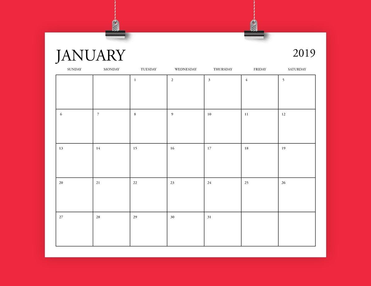 8X10 Inch 2019 Calendar Template Fits 8.5 X 11   Etsy