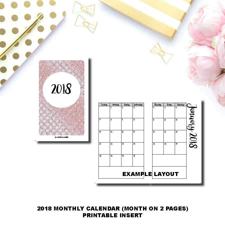 A6 Tn Size | 2018 Monthly Calendar (Sunday Start) Printable Insert © | Monthly Calendar 2018
