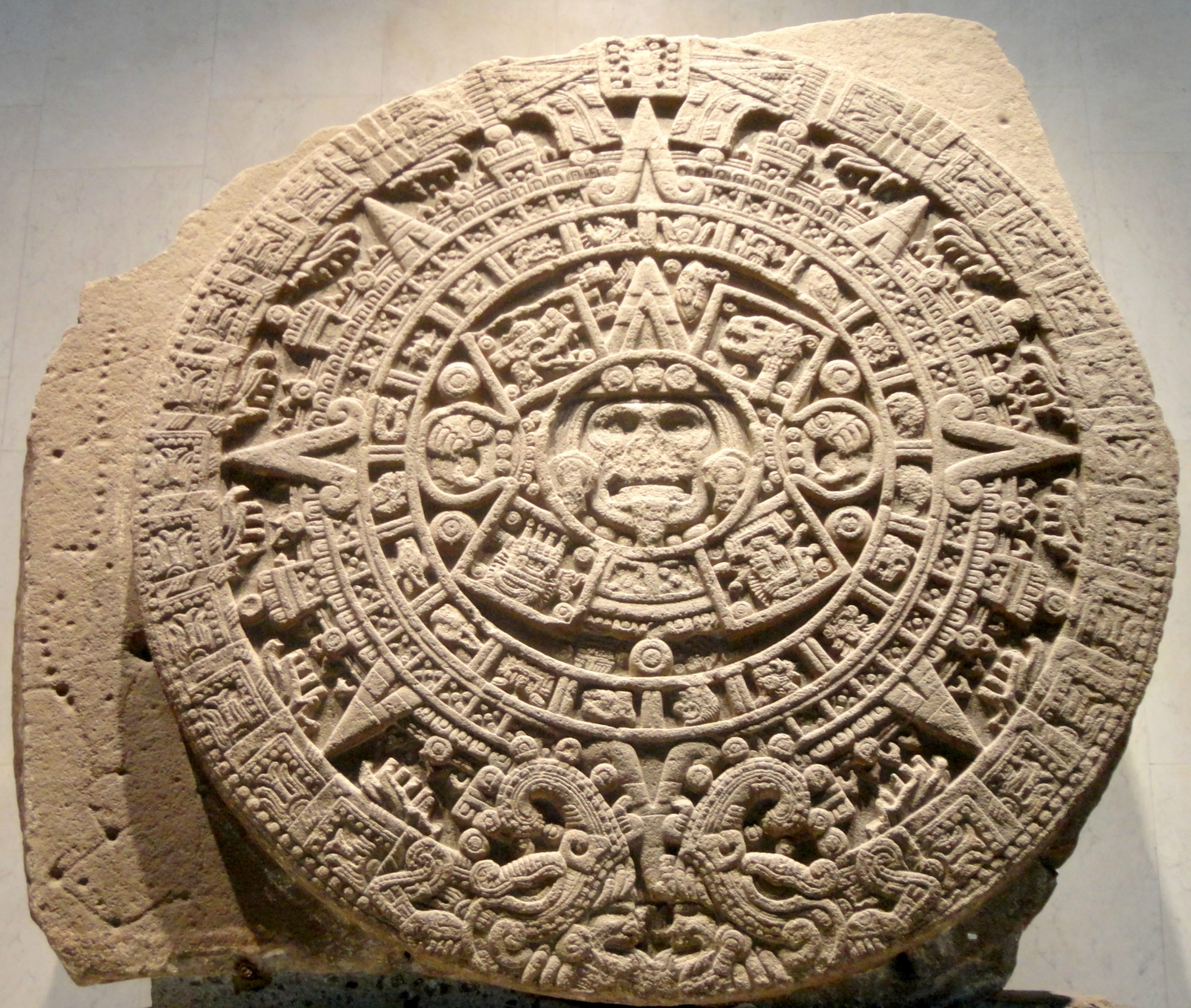 Aztec Sun Stone - Wikipedia Intended For How To Read Aztec Calendar - Printable Calendar 2020-2021
