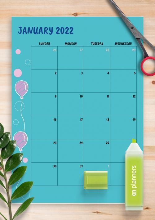 Birthday Calendar - Download Printable Birthday Calendar Templates