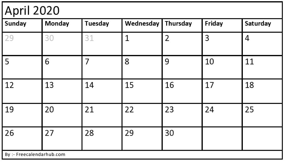 Blank April 2020 Calendar - You Can Easily Download, Print And Edit. #Blankap, #April #B