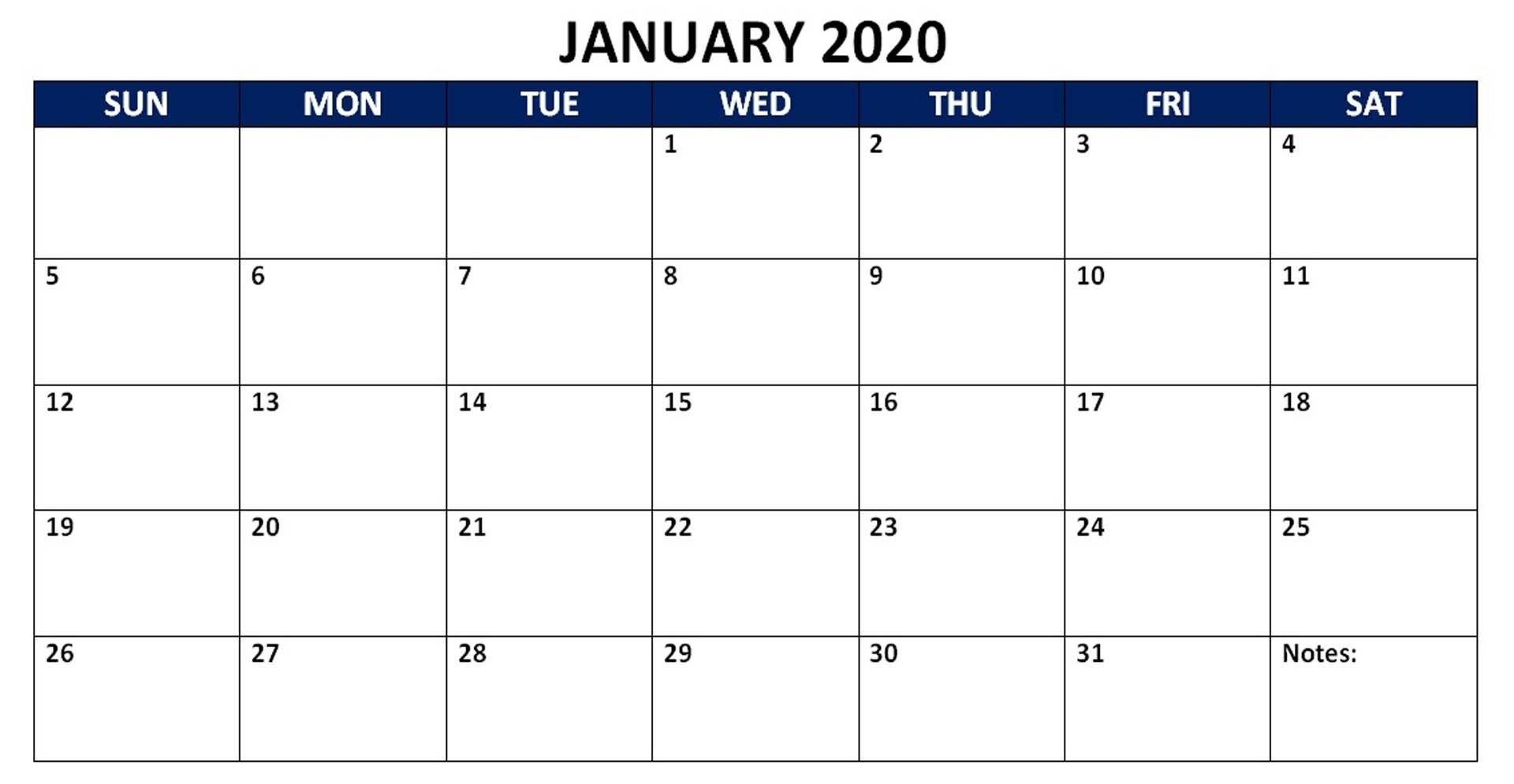 Blank Calendar January 2019 Landscape | Free Printable Calendar Templates, Calendar Template