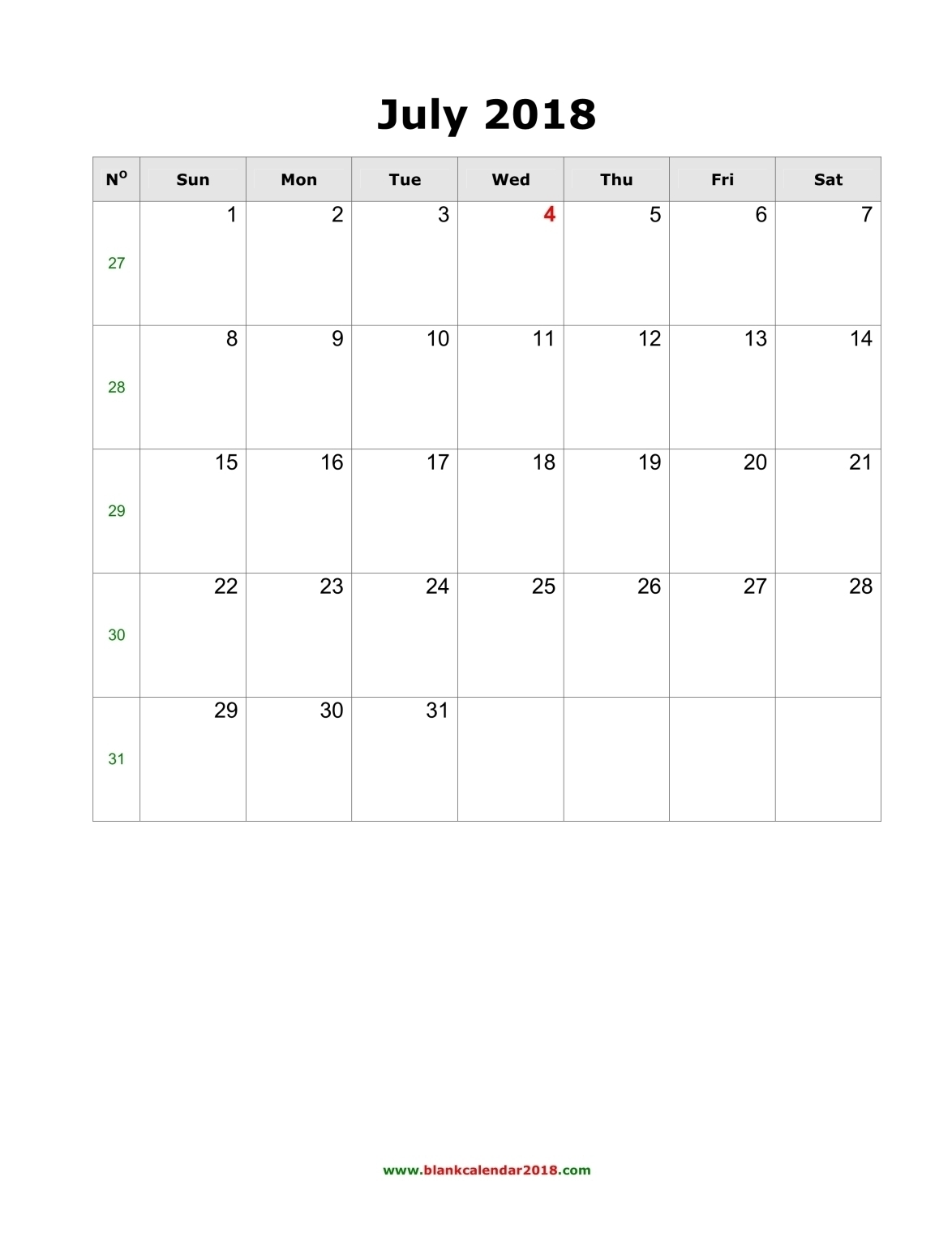 Blank Calendar July 2018 Portrait