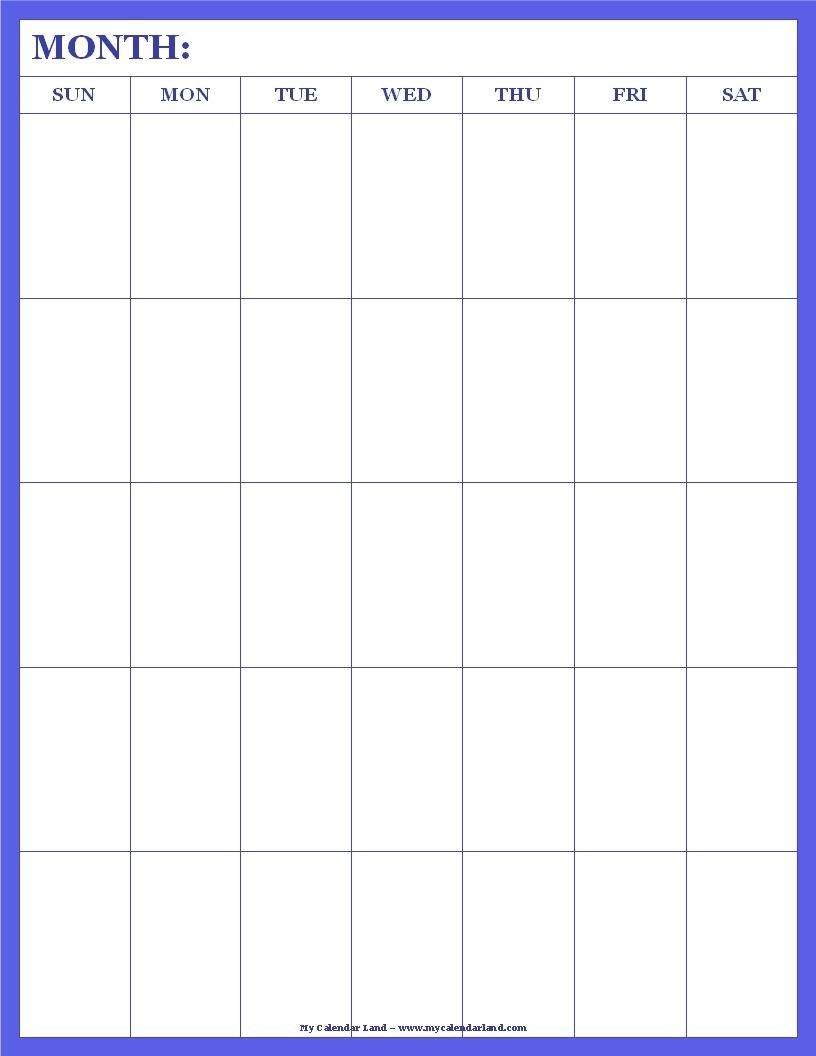 Blank Calendar Printable - My Calendar Land