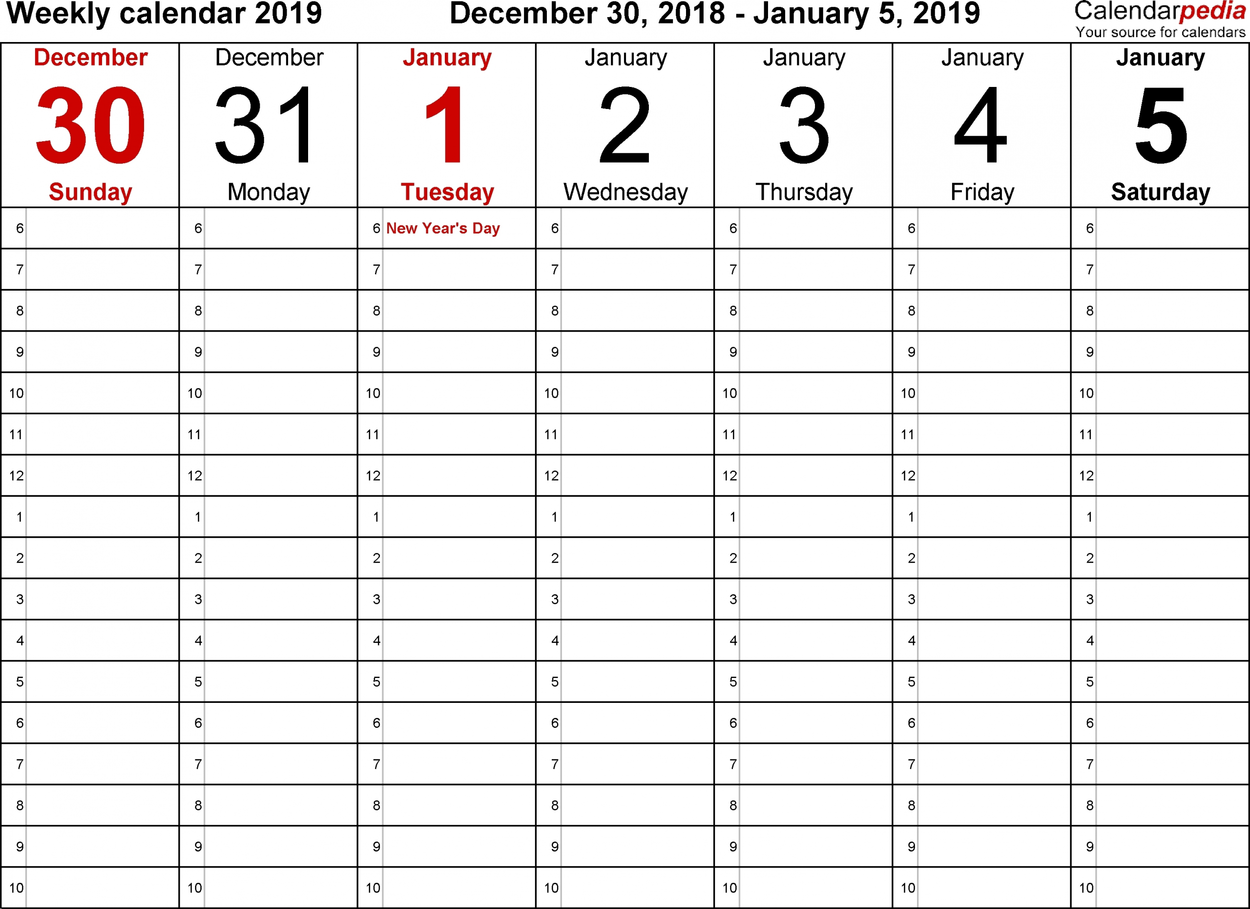 Blank Calendars To Print With Time Slots - Calendar Inspiration Design