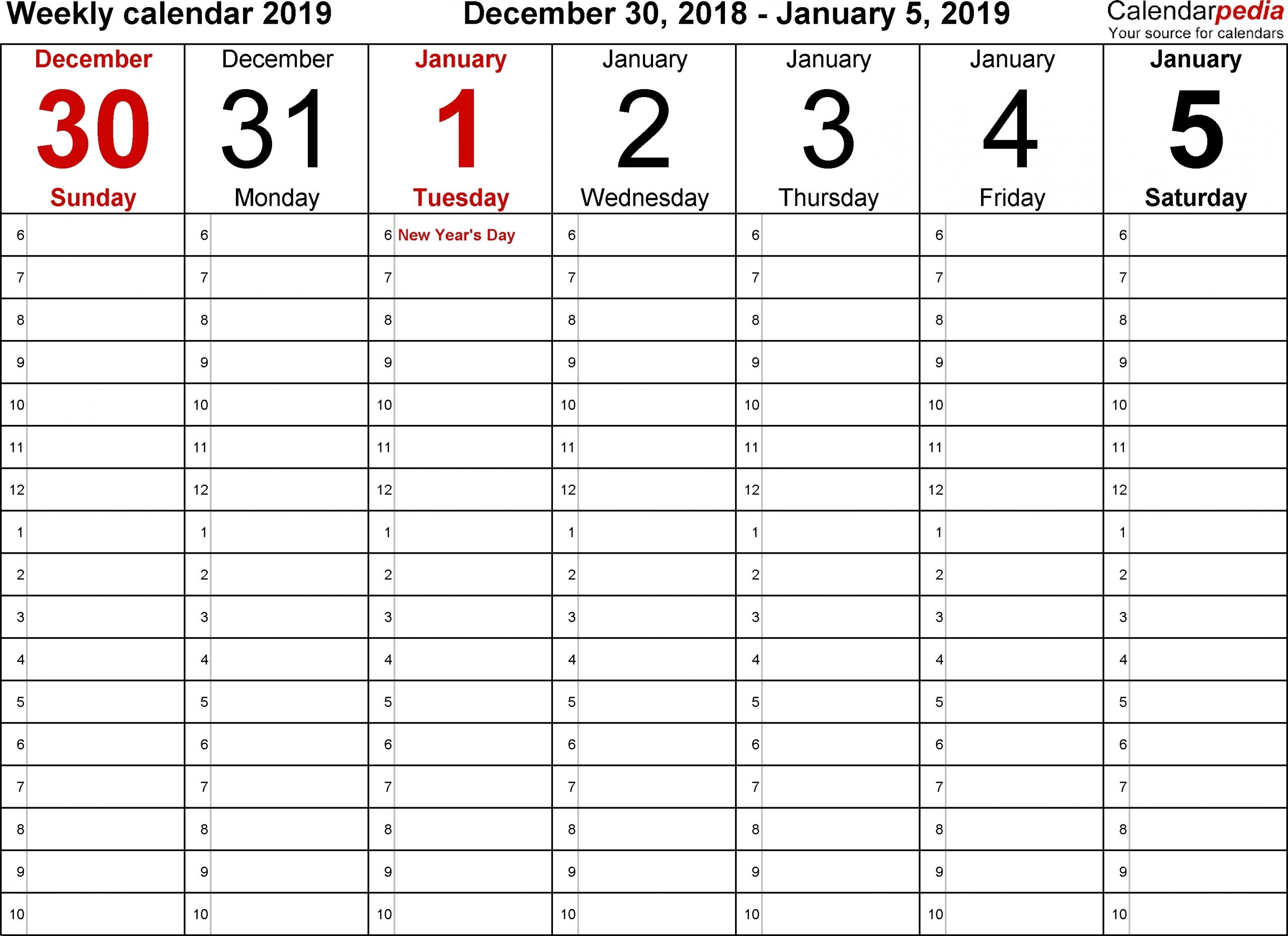 Blank Lined Weekly Printable Calendar - Calendar Inspiration Design