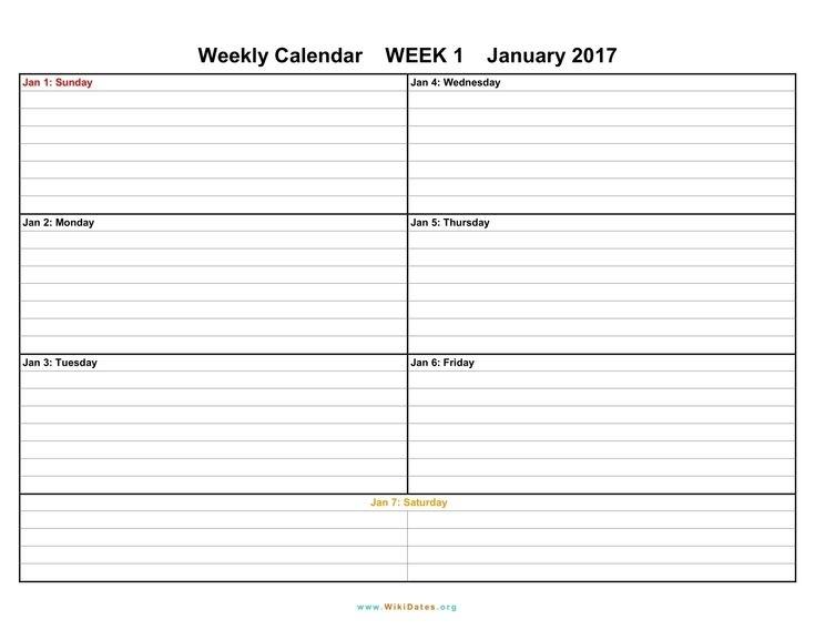 Blank Lined Weekly Printable Calendar In 2020   Blank Weekly Calendar, Weekly Calendar Template