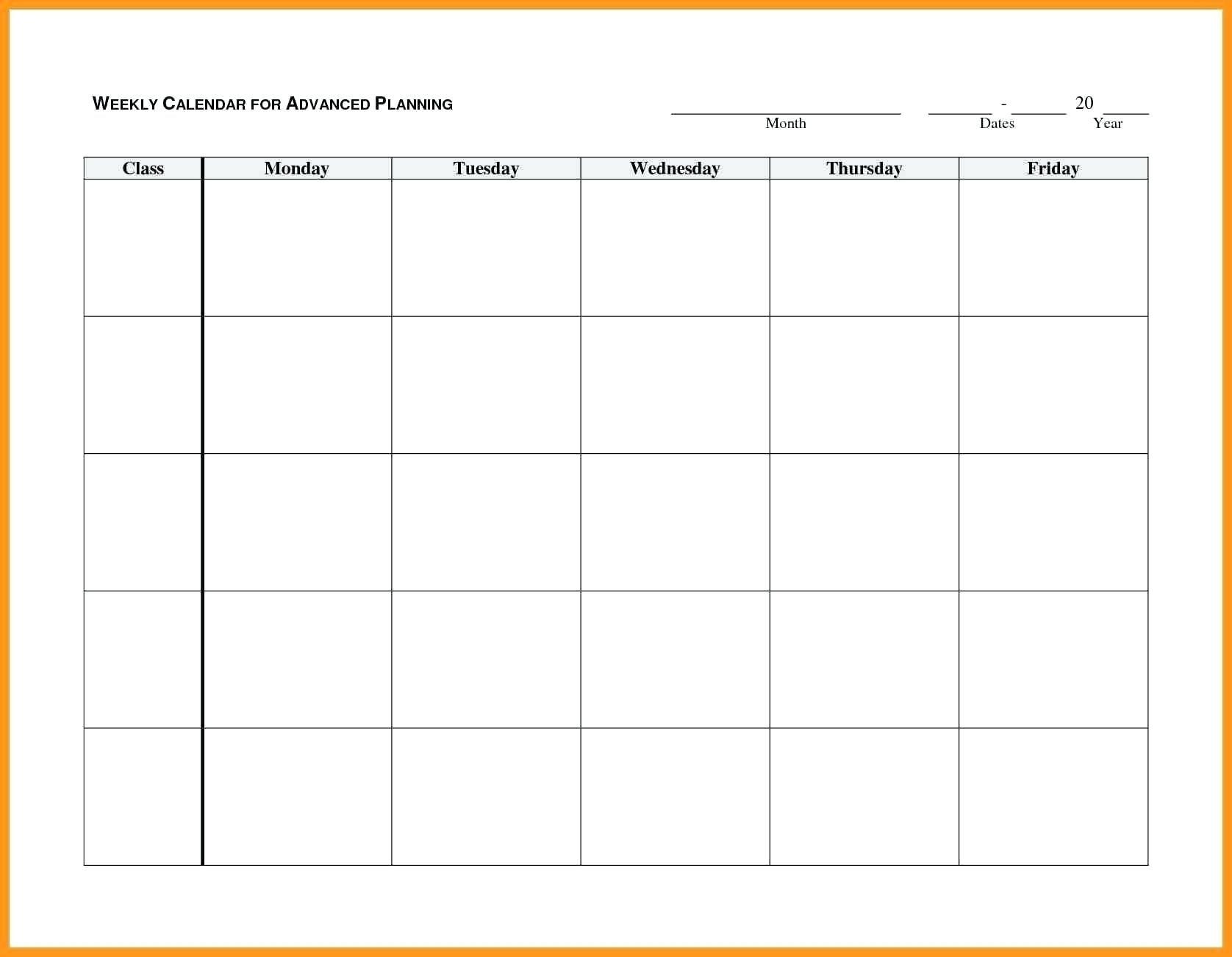 Blank Monday Through Friday Month Calendar Template :-Free Calendar Template