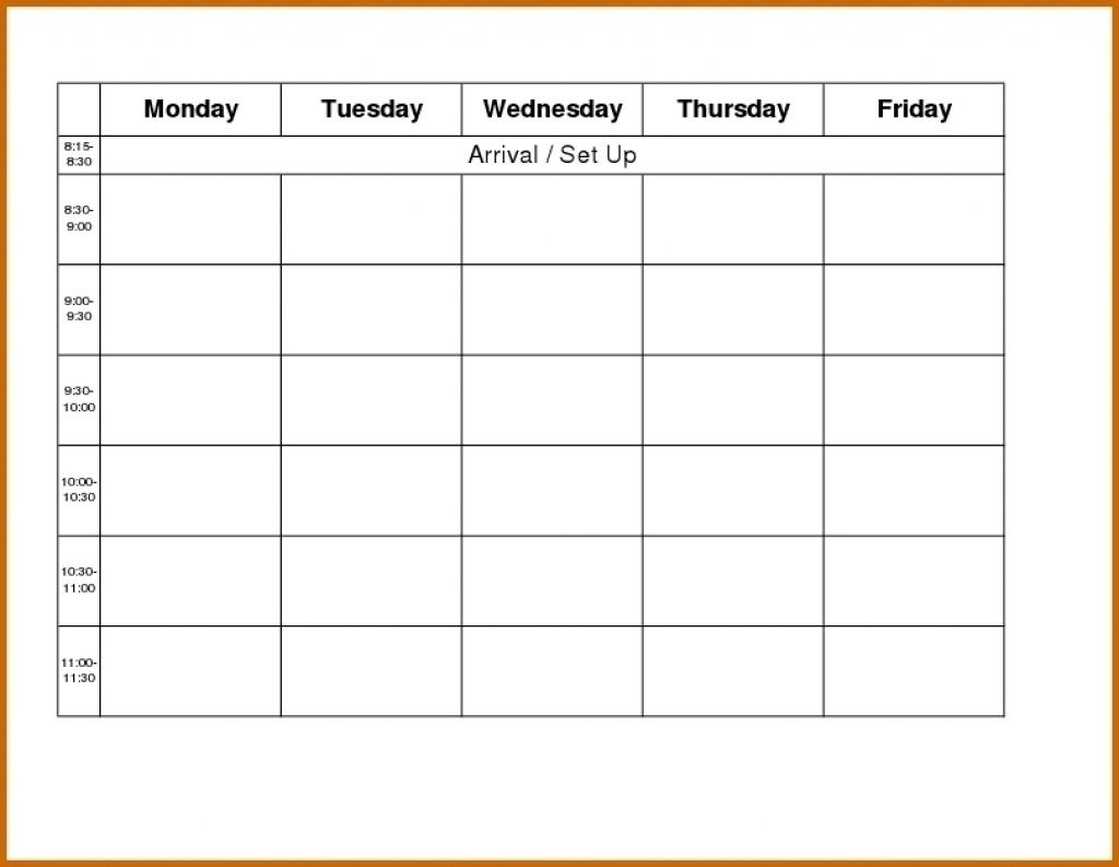 Blank Monday Through Friday Schedule - Calendar Inspiration Design