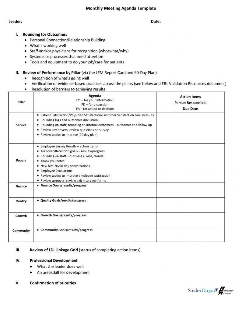 Blank Monthly Meeting Agenda Sample - Pdf Format | E-Database