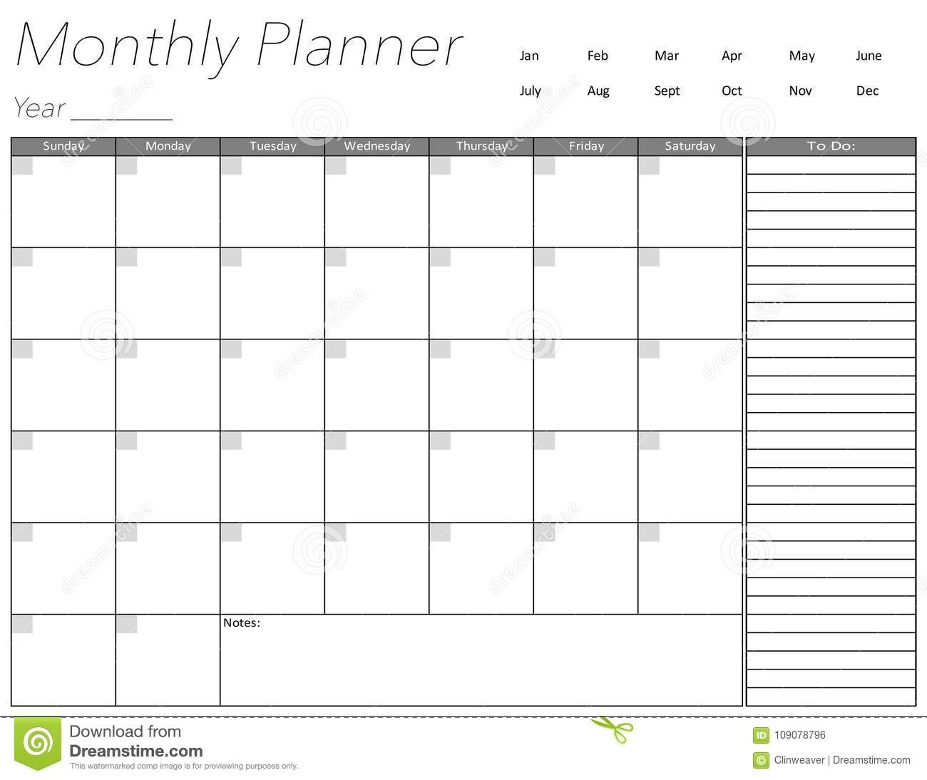 Blank Monthly Planner Page Stock Illustration. Illustration Of Schedule - 109078796