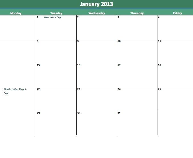 Blank Printable Calendar Monday Thru Friday :-Free Calendar Template
