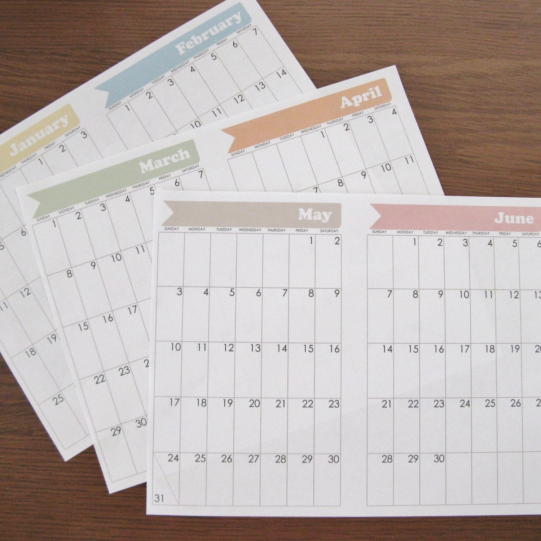 Bullet Journal Calendar Pages January 2015 Through December