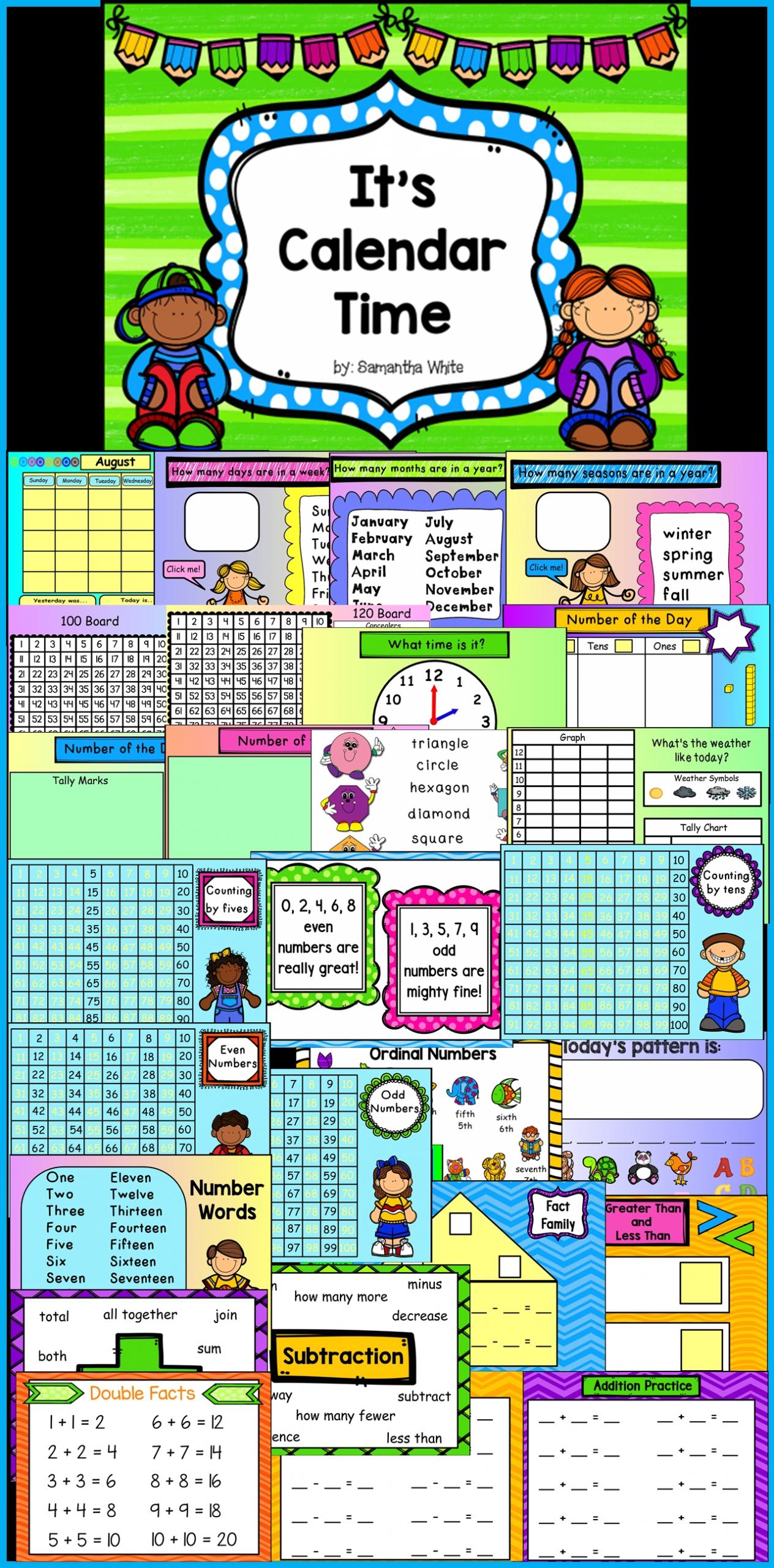 Calendar Board - An Interactive Promethean Board Flipchart | Promethean Board, Calendar Math