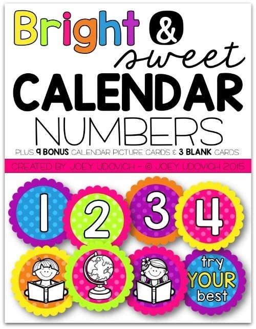 Calendar Numbers - Bright & Sweet Theme   Calendar Numbers, Calendar, Picture Cards