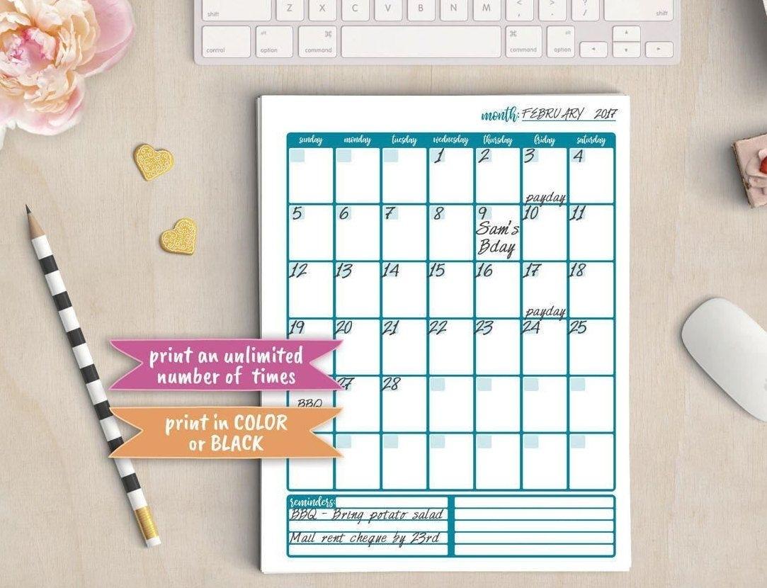 Calendar, Planner, Organizer, Journal, Blank Month Dates, Printable, Filofax, Binder Insert, A4