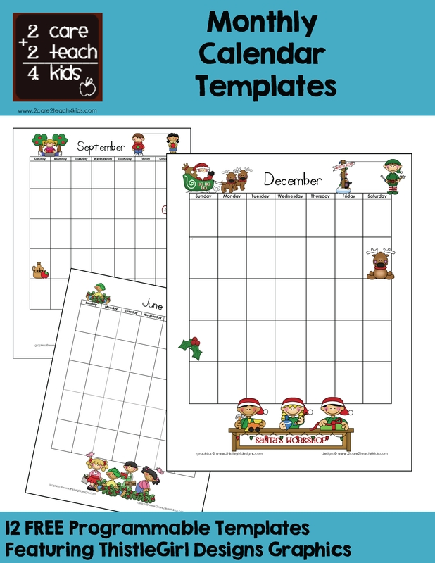 Calendars - Free Printable Templates - 2Care2Teach4Kids