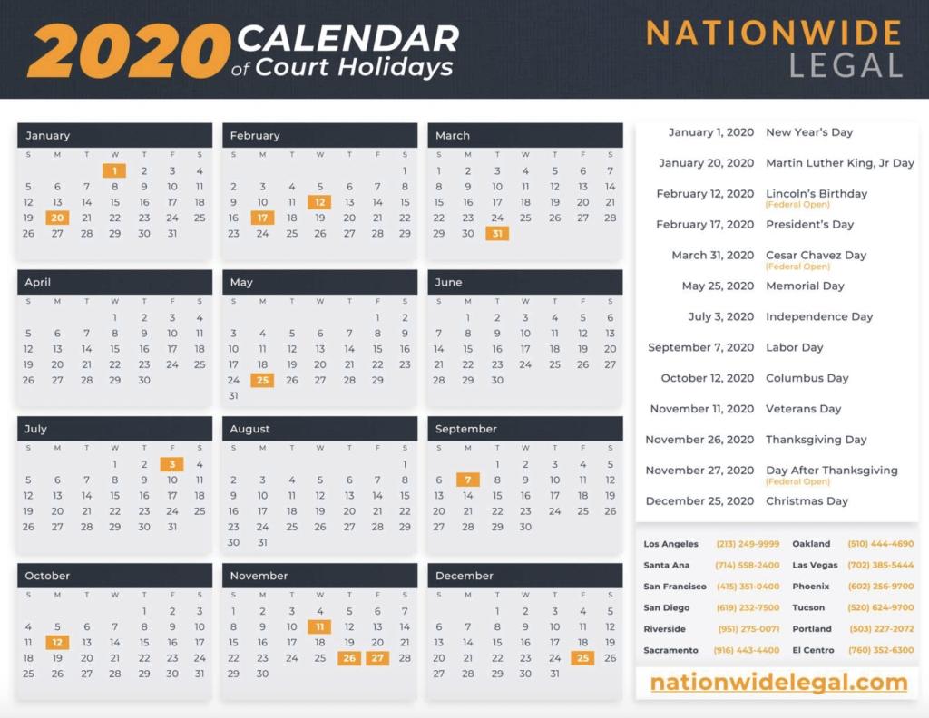 Courts - Nationwide Legal For San Diego Court Calendar - Printable Calendar 2020-2021
