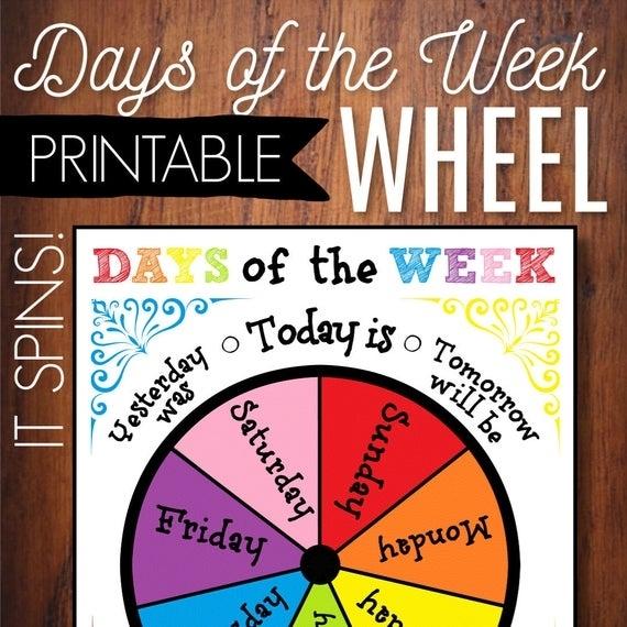 Days Of The Week Printable Wheel Circle Time Calendar | Etsy