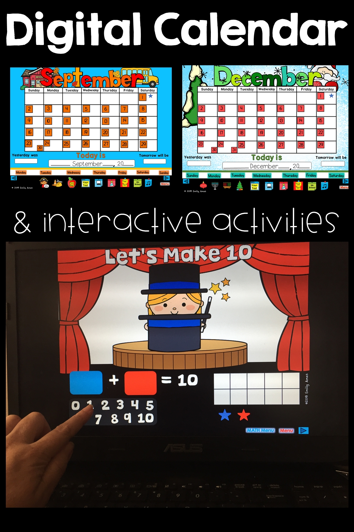 Digital Smart Board Calendar With Activities For Weather, Days, Date, How Many Days In School