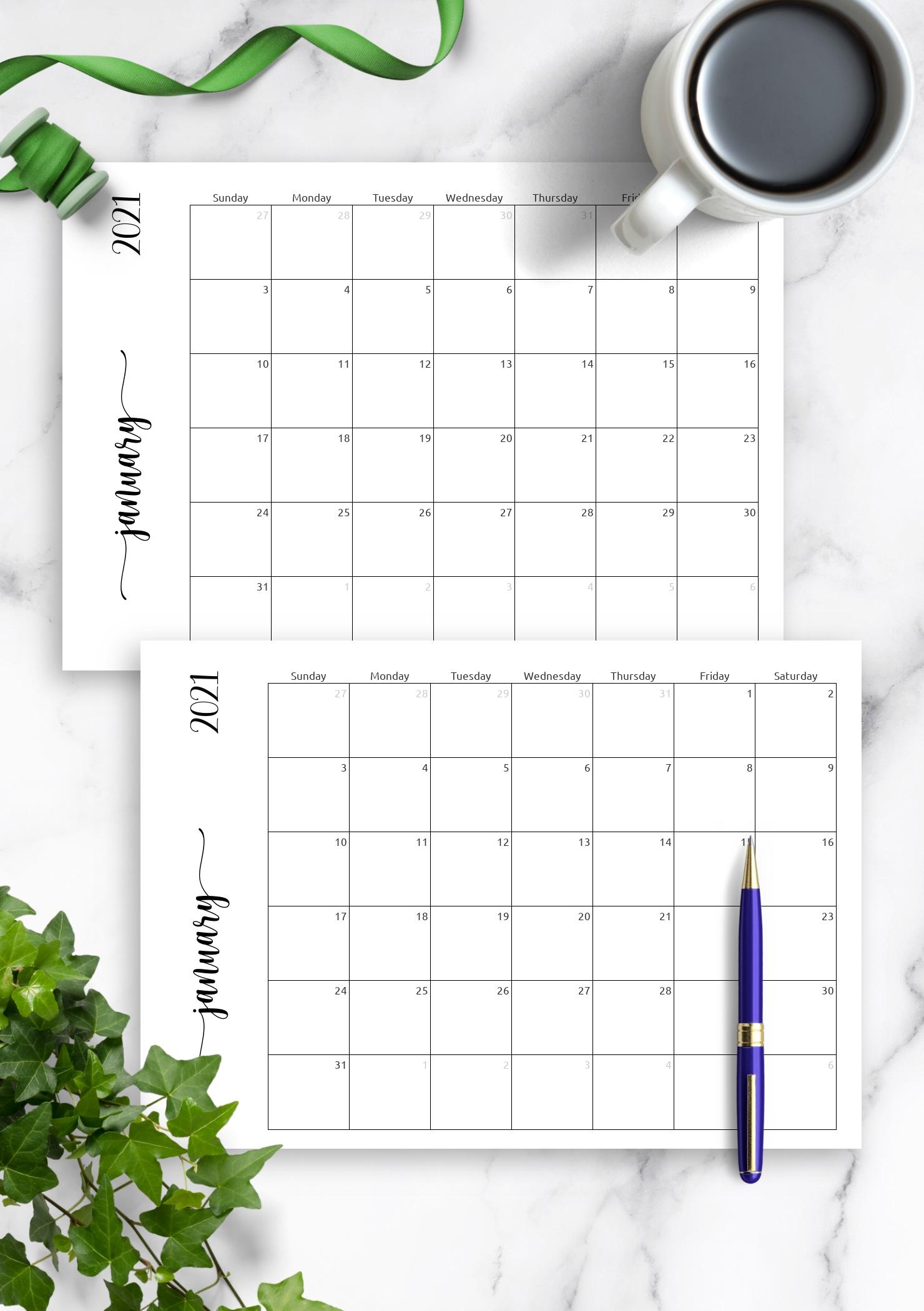 Download Printable Simple Monthly Calendar Horizontal Pdf