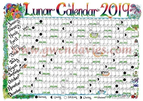 Downloadable Lunar Moon Calendar 2019 A4 Downloadable Pagan | Etsy