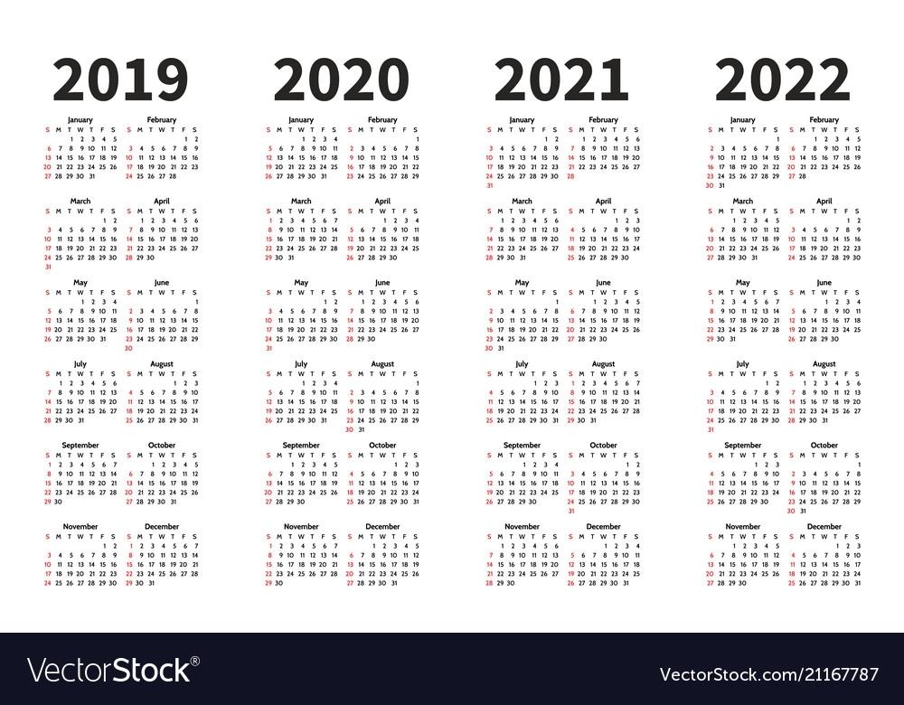 ラブリー Free 4 Year Calendar 2019 To 2022 Printable - 美しい壁紙画像