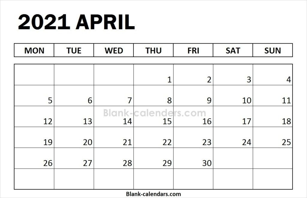 Editable Blank April Calendar 2021 Templates | July Calendar, 2021 Calendar