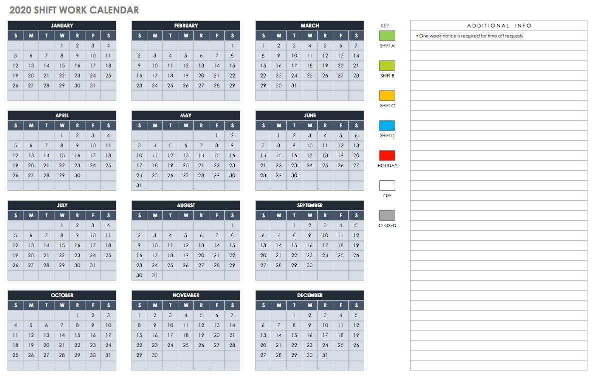 Employee Vacation Calendar Template 2020   Calendar Template Printable