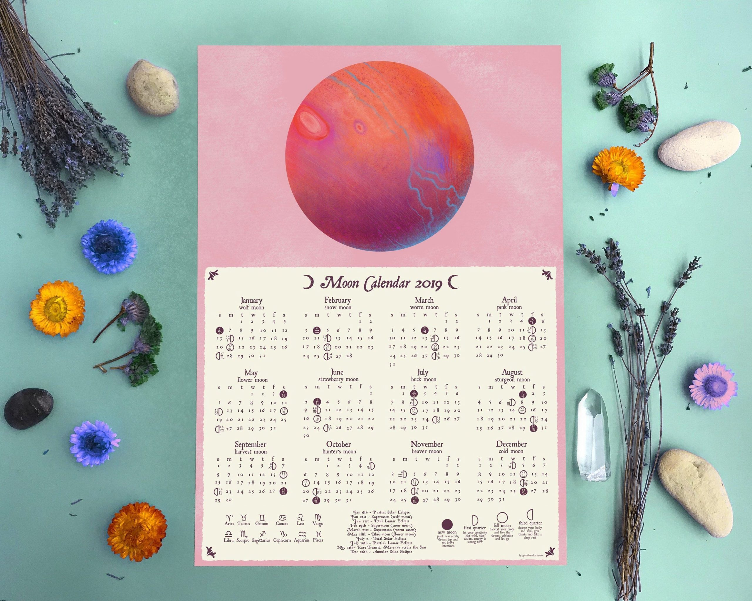 Excited To Share This Item From My #Etsy Shop: Moon Calendar 2019, Lunar Calendar, Zodiac Signs