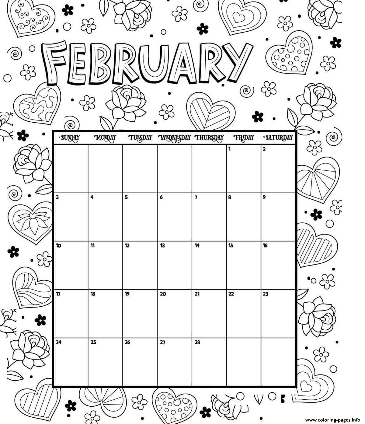 February Coloring Calendar Valentines Coloring Pages Printable
