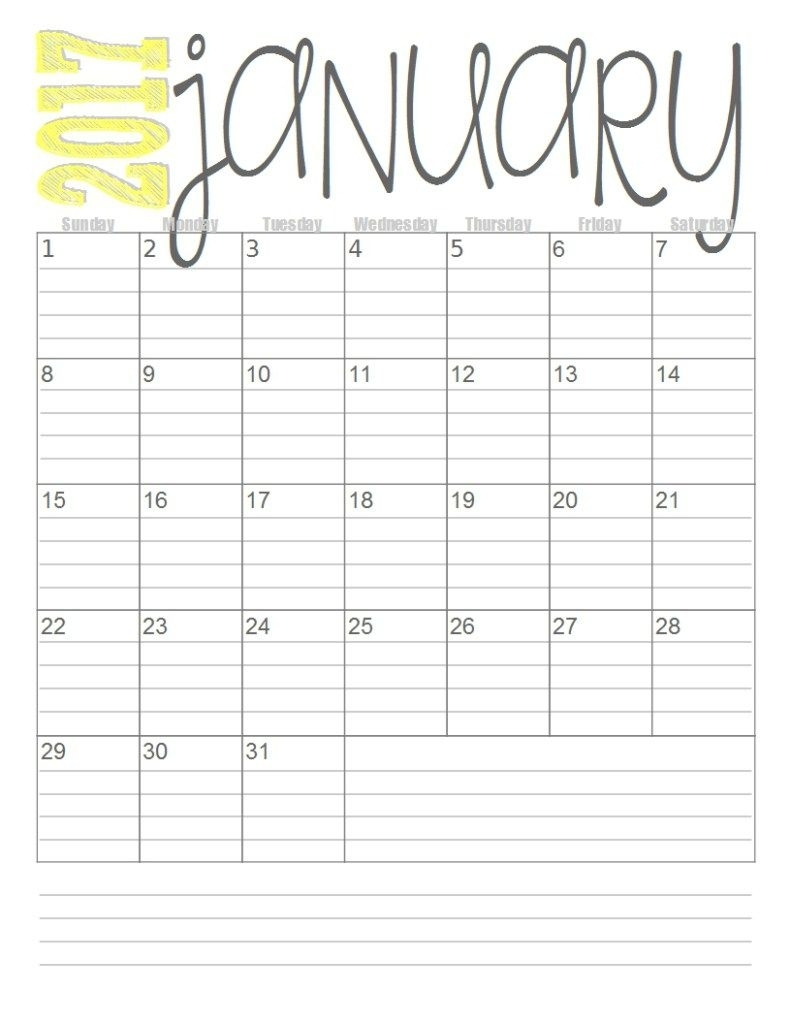 Free 2017 Monthly Calendars (With Images)   Free Printable Calendar Monthly, Monthly Calendar