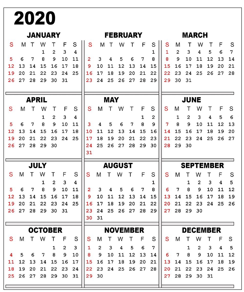 Free 2020 Printable Calendar Templates   Editable Calendars 2020