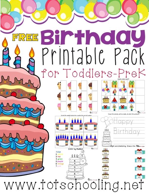 Free Birthday Printable Pack For Prek- K | Free Homeschool Deals