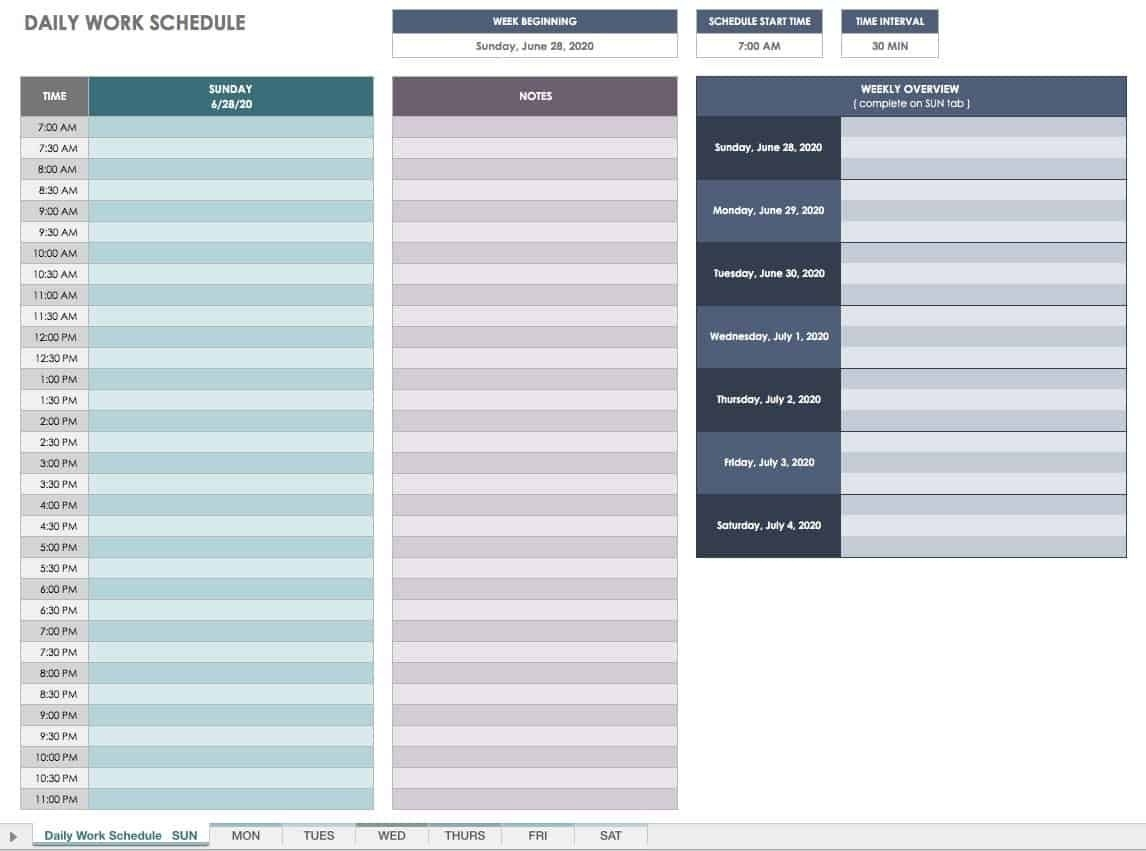 Free Daily Schedule 30 Minute Increments - Example Calendar Printable