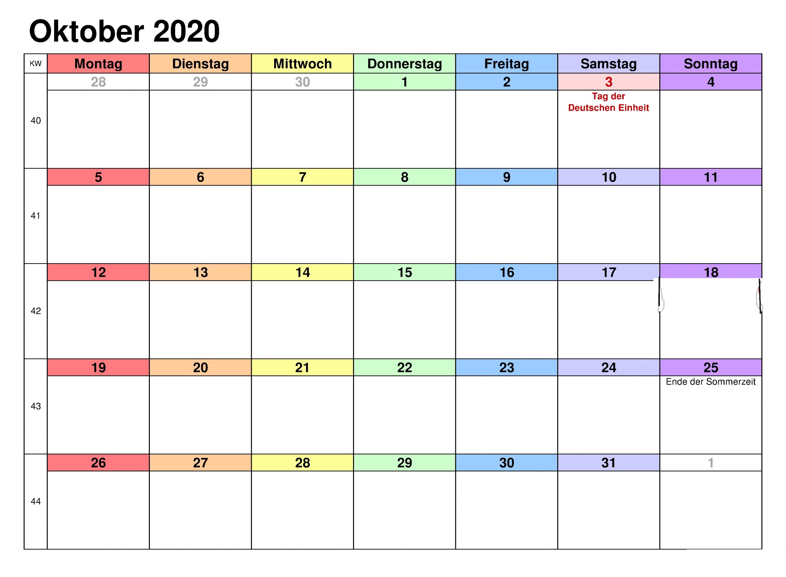 Free Kostenlos Oktober 2020 Kalender Druckbare Vorlagen In Pdf Word Excel