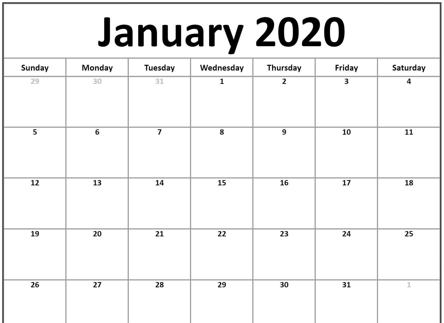 Free Monthly January 2020 Calendar Word Excel Landscape Notes Pdf Xls Page Portrait Vertical