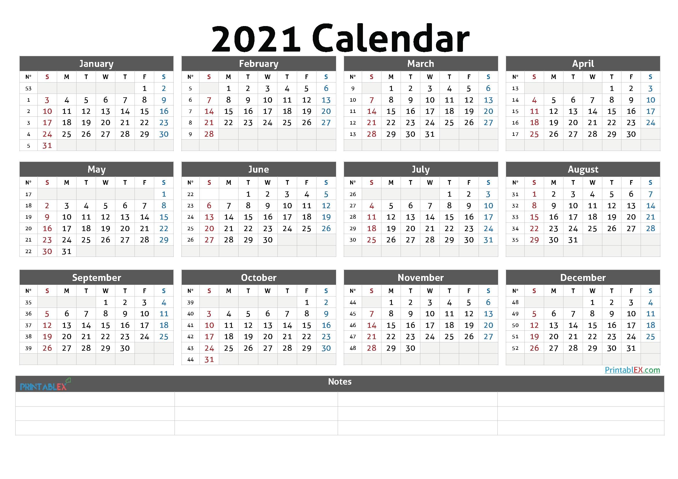 Free Printable 2021 Calendaryear - 21Ytw44 - Free 2020 And 2021 Calendar Printable Monthly